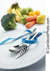 dieet, met, groentes, en, vruchten