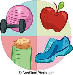 dieet, oefening, illustratie, pictogram