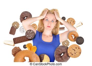 dieet, schrik, vrouw, op wit, met, hapje voedsel