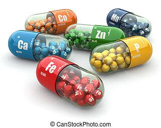 dieet-, supplements., variëteit, pills., vitamine, capsules.