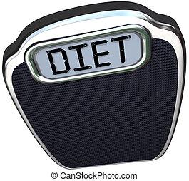 dieet, woord, op, schub, vallen af, eten, minder