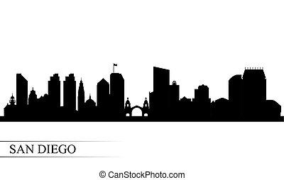 diego, 黑色半面畫像, san, 城市地平線, 背景