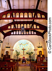 diego, concepción, san, 1851., originally, reopened, construido, viejo, histórico, california, inmaculado, iglesia, interior, adobe, era, restaurado, 1917.