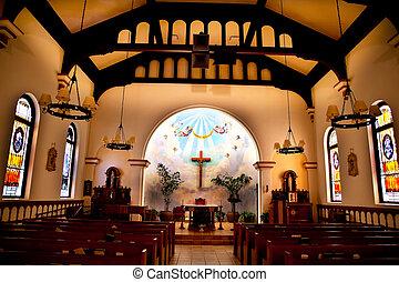 diego, concepción, san, altar, originally, 1851., construido, reopened, viejo, histórico, california, inmaculado, iglesia, interior, adobe, era, restaurado, 1917.