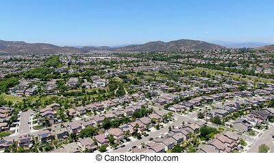 diego, grand, vue aérienne, manoirs, voisinage, suburbain, san