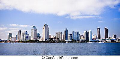 diego, san, cidade, porto, skyline, ao longo