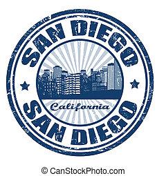 diego, san, ciudad, estampilla, estado, california