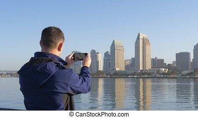 diego, san, photo, prendre, aube, smartphone., touriste