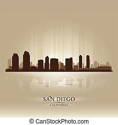 diego, silhouette, san, horizon ville, californie
