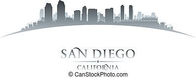 diego, silhouette, san, horizon ville, californie, fond, blanc