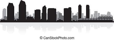 diego, skyline przedstawią w sylwecie, san, miasto