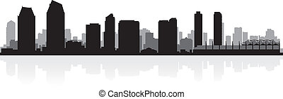 diego, skyline silhuet, san, byen