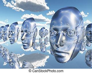 diembodied, 顔, ∥あるいは∥, マスク, 彷徨い, 中に, 超現実的, 現場