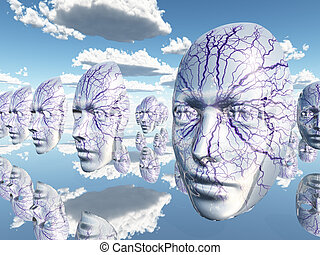 Diembodied faces or masks hover in surreal scene