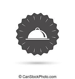 dienende speise, zeichen, tisch, icon., servierplatte, setting.
