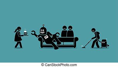 diener, robot., hat, menschliche , werden