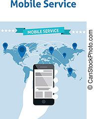 dienst, beweeglijke telefoons, globaal, idee, creatief, ontwerp