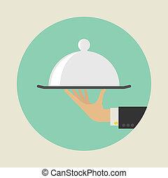 dienst, concept., plat, style., vector, illustratie