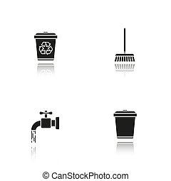 dienst, iconen, black , poetsen, schaduw, set, druppel