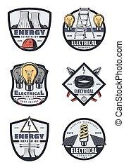 dienst, macht, industrie elektrisch, retro, kentekens