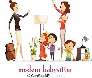 dienst, moderne, illustratie, babysitter, kinderjuffrouw, ...
