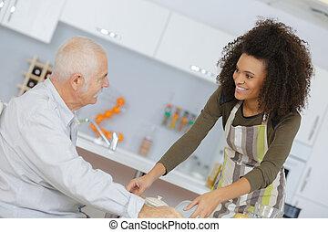 dienst, patient, arbeiter, senioren, gesundheit, mahlzeit, sorgfalt