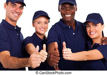 dienst, personeel, beduimelt omhoog, op wit