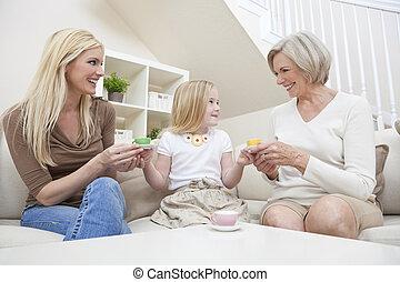 dienst, töchterchen, familie, tee, set., drei, eins, großmutter, porzellan, weibliche , mutter, home., spielende , generationen