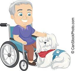 dienst, wheelchair, dog, illustratie, hogere mens