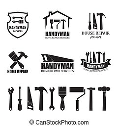 diensten, anders, set, handyman, iconen