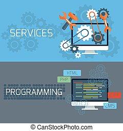 diensten, concept, programmering