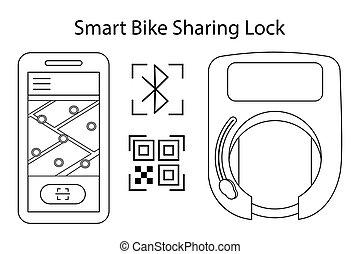 diensten, delen, wiel, fiets, gebruik, slot, scooters., opent, huur, app, beweeglijk, bluetooth, vector, qr, code, illustratie, key., smart, bicycles, draadloos, of, outline.