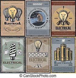diensten, elektrisch, energie, fabriekshal, lampen