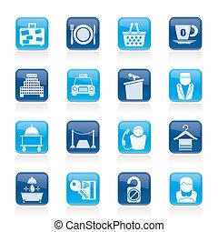diensten, motel, hotel, iconen