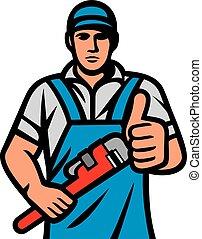 diensten, op, vasthouden, installatiebedrijf, moersleutel, het tonen, design), (plumbing, duimen
