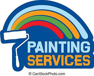 diensten, schilderij, etiket