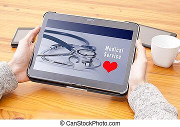 diensten, web, medisch, tablet