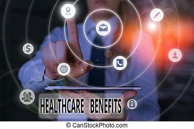 dienstleistungen, ohne, foto, gesundheit, text, begrifflich, finanzielles risiko, benefits., zeichen, gebrauch, ausstellung, ruin., healthcare