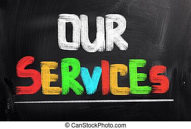 dienstleistungen, unser, begriff