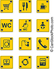 dienstleistungen, vektor, ic.2, straßenrand, zeichen &...