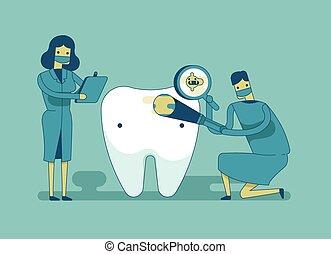 diente, arriba, dentista, cheque