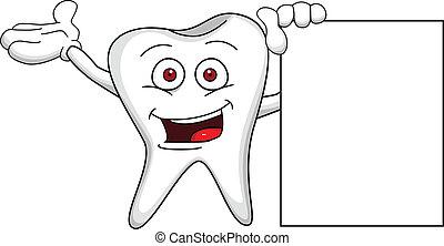 diente, caricatura, con, muestra en blanco