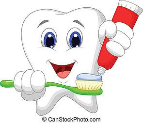 diente, caricatura, poniendo, goma de diente, o
