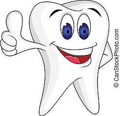 diente, con, pulgar up