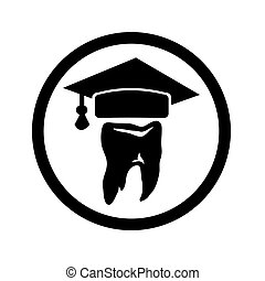 diente, con, un, gorra, de, el, graduado