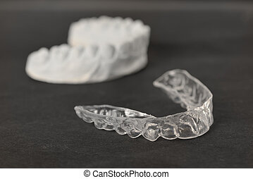 diente, corchetes, transparente, fierros