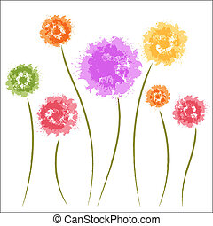 diente de león, flowers., acuarela