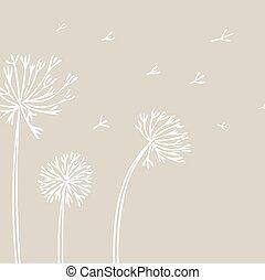diente de león, resumen, fondo., fondo beige, flores blancas