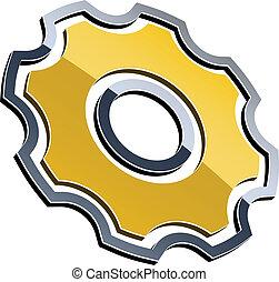 diente de rueda de cadena, vector, brillante, 3d