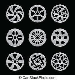 diente de rueda de cadena, vector, paquete, trasero